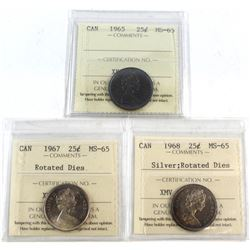 1965, 1967 Rotated Dies, 1968 Silver Rotated Dies Canada 25-cent ICCS Certified MS-65. 3pcs.
