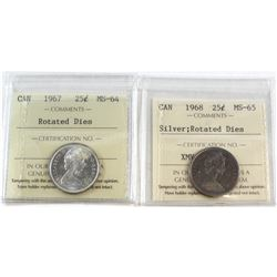 1967 Canada Rotated Dies 25-cent MS-64 & 1968 Canada Rotated Dies Silver 25-cent MS-65. Both coins h
