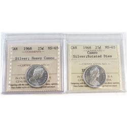 1968 Canada Silver 25-cent MS-65 Heavy Cameo & 1968 Canada Rotated Dies Silver 25-cent MS-65 Cameo.