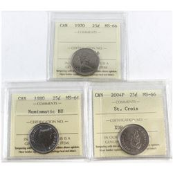 1970, 1980 NBU, 2004P St. Croix Canada 25-cent ICCS Certified MS-66. 3pcs.