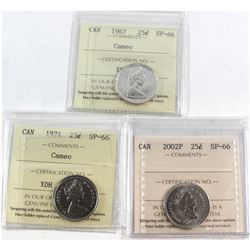 1967 Cameo, 1974 Cameo, 2002P Canada 25-cent ICCS Certified SP-66. 3pcs.