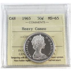 1965 Canada 50-cent ICCS Certified MS-65 Heavy Cameo.