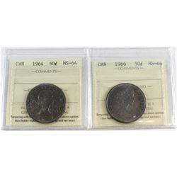 1964 & 1966 Canada 50-cent ICCS Certified MS-64. 2pcs.