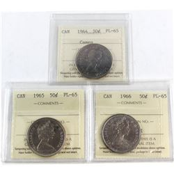 1964 Cameo, 1965, 1965 Canada 50-cent ICCS Certified PL-65. 3pcs.