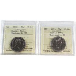 1978 Square Jewel & 1995 Double '1995' Canada 50-cent MS-66 NBU. 2pcs.