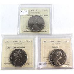1968 Normal Island Cameo, 1969 CH# 1969 Obv-601, 1970 Cameo Canada Nickel $1 ICCS Certified PL-65. 3