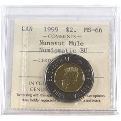 1999 Canada Nunavut Mule $2 ICCS Certified MS-66 NBU.