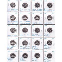 Estate Lot 1964 5-cent UNC Collection with Minor Mint Errors. 20pcs