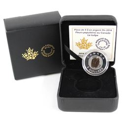 2014 $5 Flowers in Canada - Tulip Fine Silver & Niobium Coin (Tax Exempt). Outer box contains light