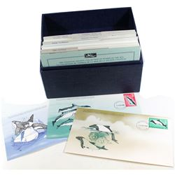 1979/1980 Cousteau Society - Stamps of the Sea, 96 First Day Covers in Collector Box. 96pcs + Box.