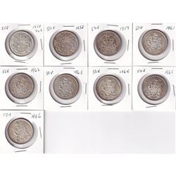 Estate Lot 1958-1966 Canada Silver 50-cent Collection. You will receive a 1958 Dot, 1958, 1959, 196