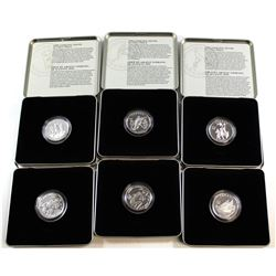 1998 & 1999 Canada 50-cent Sports Commemorative Sterling Silver Coin Series in Metal Display Cases.