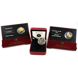 2005-2007 Canada 50-cent Gold Plated Sterling Silver Floral Collection - 2005 Golden Rose, 2006 Gold