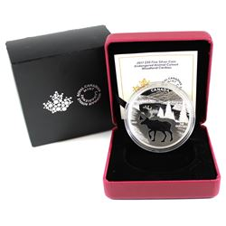 2017 Canada $30 Endangered Animal Cut-out - Woodland Caribou Fine Silver Coin (capsule lightly scuff