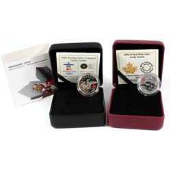 2008 Canada $1 Lucky Loonie Sterling Silver & 2014 $1 Lucky Loonie Fine Silver Coins (2014 missing o