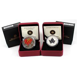 2009 Canada $20 Autumn Showers Crystal Raindrop & 2010 $5 Piedfort Silver Maple Leaf Fine Silver Coi
