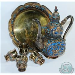 Chinese Export Cloisonné - Silver Gilt & Enamel Tea service with Dragon Design.