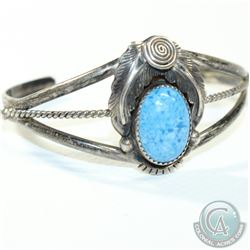 J. Lee Signed Navajo Sterling Silver Cuff Bracelet with Turquoise Stone.