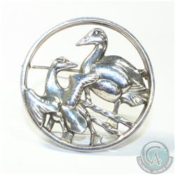 Signed Georg Jenson Denmark Sterling Silver 'Two Ducks' Brooch.