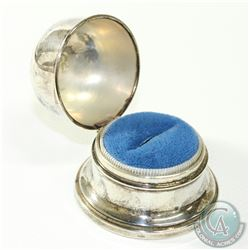 BIRKS Sterling Silver Bell Shape Ring Box with Blue Felt Lining.