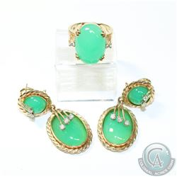 14K Yellow Gold Jade & Diamond Ring and Earring Set. 2pcs.