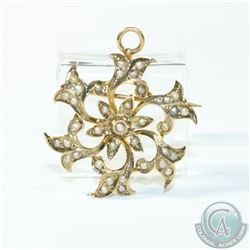 Edwardian 10K Yellow Gold Seed Pearl Brooch/Pendant.