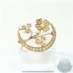 Edwardian 14K Yellow Gold Seed Pearl Crescent Moon with Flowers Brooch.