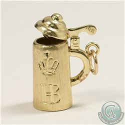 14K Yellow Gold German Beer Stein Charm with HOFBRAU Beer Symbol. Lid mechanically opens and closes