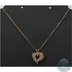10K Yellow Gold 18 Inch Chain with Diamond Heart Pendant. Pendant contains 49 Diamonds. Total 4.5gra
