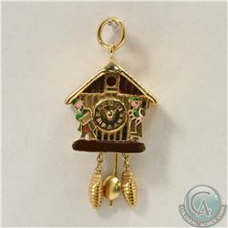 18K Yellow Gold Articulated Coo Coo Clock with Enamel finish. 2.6 grams.