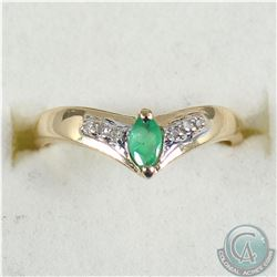 Lady's 10K Yellow Gold Emerald & Diamond Ring - Size 6. 1.6 grams.