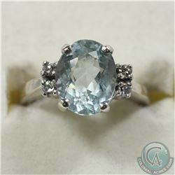 Lady's 14K White Gold Aqua Marine & Diamond Ring - Size 4 1/2. 3.7 grams.