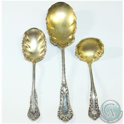 Set of Sterling Silver Gilt Berry/Serving Spoons. 109.2 grams. 3pcs.