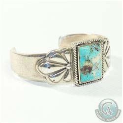 Vintage BARSE Sterling Silver Cuff Bracelet with Large Turquoise Inlay. 55.8 grams.
