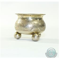 "1885 Russia Silver Salt Cellar with Moscow Mark. Stands 1 1/2"" tall. 28.1 grams."