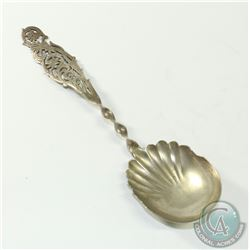 Antique Sterling Silver Twisted Stem with Pierced Floral Handle Signed S.H & M.  59.2grams.