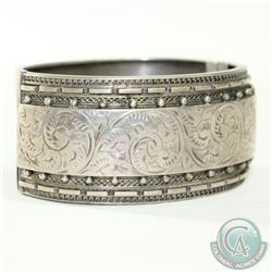 "Antique 1893 Robert James Dick Signed Sterling Silver Bracelet with Etched design. Measures 2 1/2"" i"