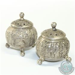 Antique Middle Eastern Salt & Pepper Shakers with Figural Design. Stand 2 1/4 inches tall. 140.1 gra
