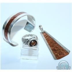 Karyn Chopik Studio Sterling Silver with Copper Accent Jewellery Lot.  This lot contains a Large Pen