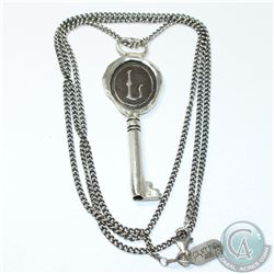 PYRRHA Sterling Silver Necklace & Key Pendant. Chain is 28 inches.