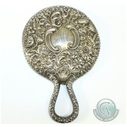 Circa 1840's Birmingham Repousse Sterling Silver Hand Held Mirror. Monogramed EMM. Item shows signs