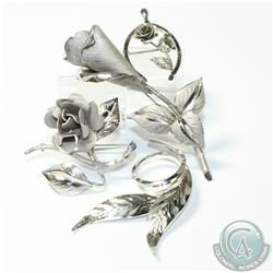 Lot of Bond Boyd Sterling Silver Floral Brooches. 4pcs