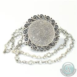 "Mexico Sterling Silver 'Signed' MARICELA Large Mayan Calendar Brooch/Pendant & 30"" Chain"