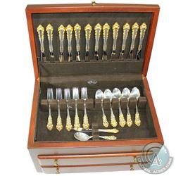 *78 Pc. GORHAM Medici Gold Accented Sterling Silver Flatware Set with Case. Gorham  Golden Medici  p