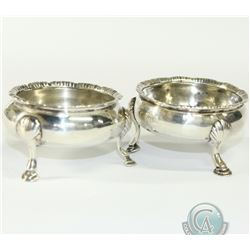 1818 London; Sterling Silver Salt Cellars. Cellars stand 1 1/2 inches in height and are 2 1/2 inches