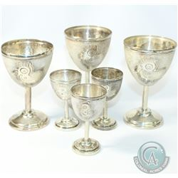 Vintage Mexico A. Ceron Sterling Silver Stemmed Cordial Cups.  Each Cup Contains the ancient Aztec B