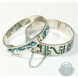 Pair of Vintage Mexico Sterling Silver Bracelets with Stone Inlays. Both Bracelets measure approxima