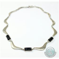 Vintage Mexico Sterling Silver & Onyx Necklace with Slide Clasp. Total weight of 69.05 grams.