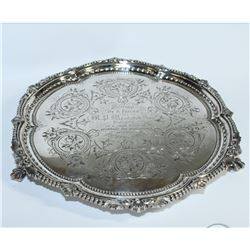 1862 Sheffield; Martin Hall & Co Sterling Silver Salver/Tray. This beautiful piece is in wonderful c