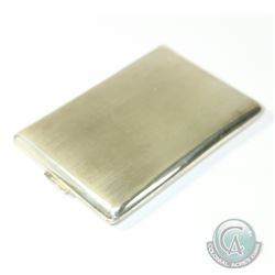 Vintage Mexico Sterling Silver Cigarette Case with Brushed Finish. Measures 4 1/4 inches by 3 Inches